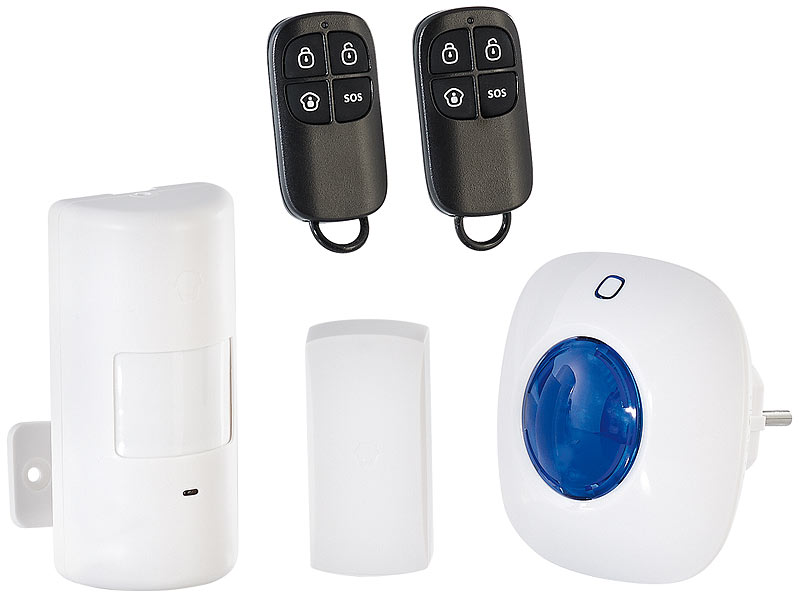 visortech alarmsystem mit funkanbindung pir sensor t r fenster alarm. Black Bedroom Furniture Sets. Home Design Ideas