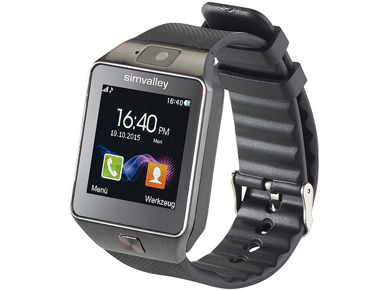 simvalley mobile 1 5 handy uhr smartwatch pw bt 3 0 kamera refurbished. Black Bedroom Furniture Sets. Home Design Ideas