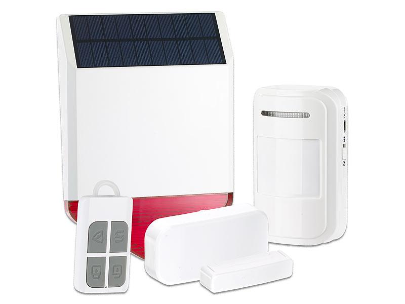 visortech alarmanlage solar funk alarmalage xmd 110 db 5 teiliges starter set. Black Bedroom Furniture Sets. Home Design Ideas