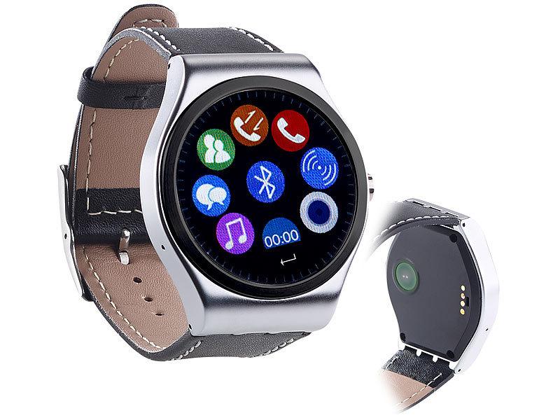 simvalley mobile handuhr smartwatch mit bluetooth 4 0 metallgeh use herzfrequenz nachrichten. Black Bedroom Furniture Sets. Home Design Ideas