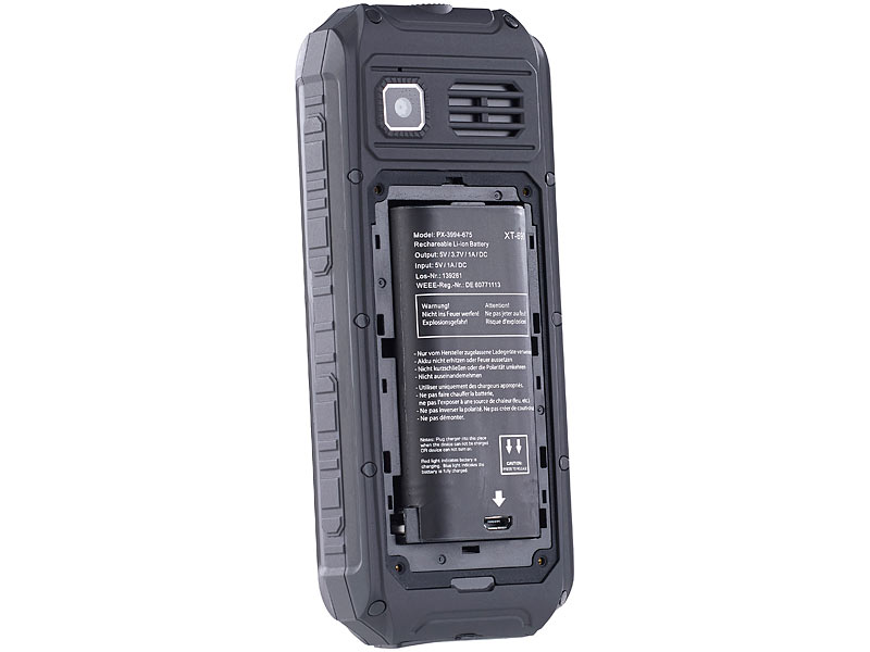 simvalley MOBILE Zubehör-Akku für Outdoor-Handy XT-690, Powerbank-Funktion,  4.400 mAh