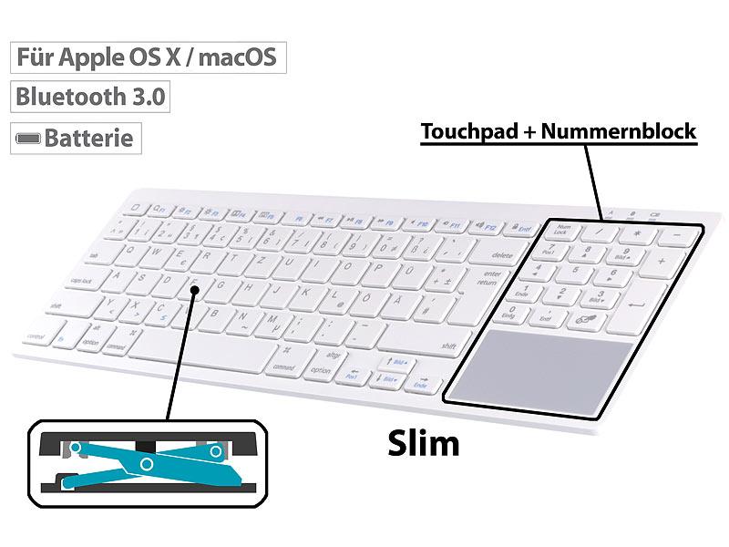 Bluetooth-Tastatur, Touchpad, Nummernblock, Scissor-Keys, für macOS