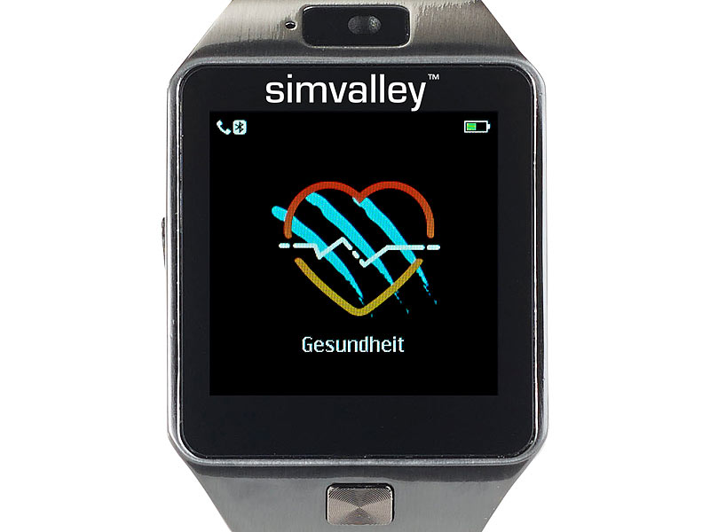 simvalley mobile smartuhr handy uhr smartwatch mit kamera bluetooth 4 0 f r ios android. Black Bedroom Furniture Sets. Home Design Ideas
