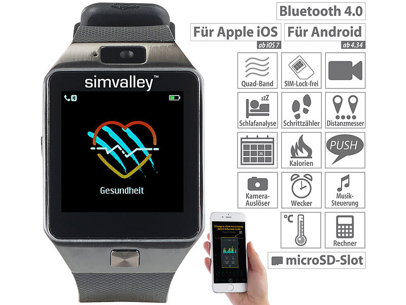 Handy-Uhr/Smartwatch mit Kamera, Bluetooth 4.0, iOS & Android
