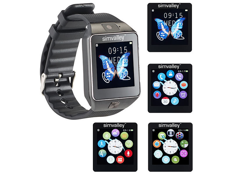 simvalley mobile handy uhr smartwatch mit kamera bluetooth 4 0 ios android. Black Bedroom Furniture Sets. Home Design Ideas