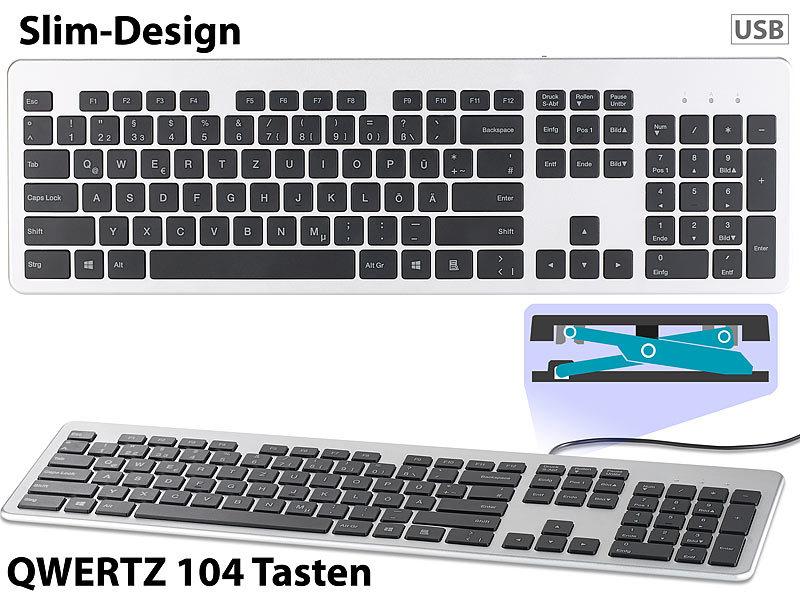 GeneralKeys Computertastatur: USB-Voll-Tastatur, Super-Slim mit ...