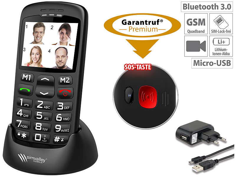 Komfort-Handy m. Bluetooth, Garantruf, Ladestation, 5,6-cm-Farbdisplay