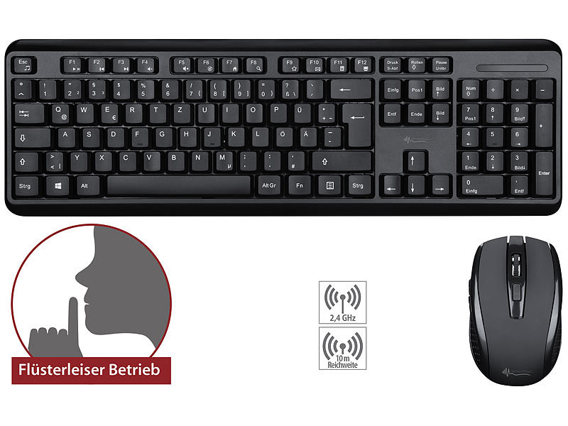 Office-Set leise Funk-Tastatur-Maus-Kombination, 2,4 GHz, 10 m, silent