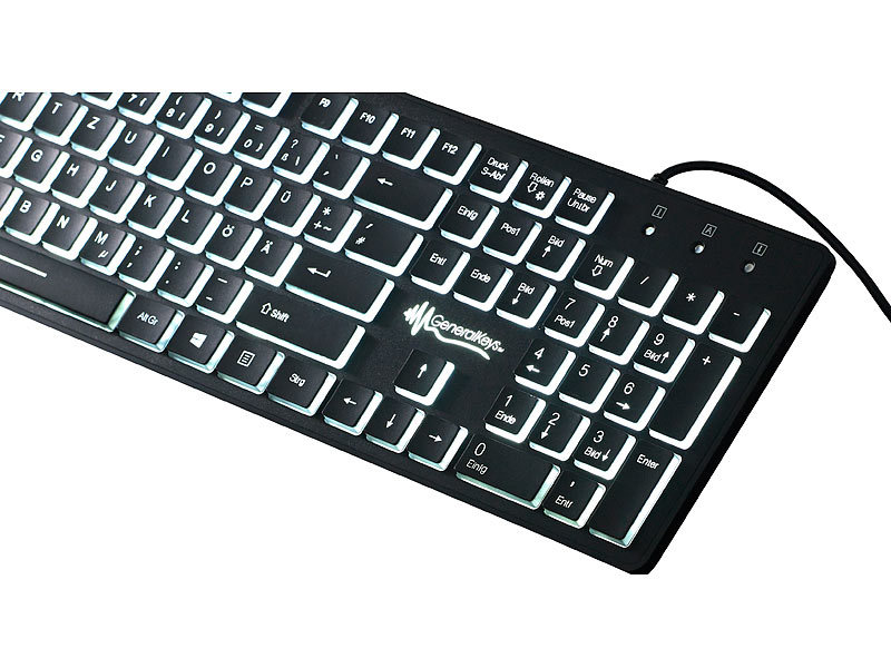 GeneralKeys Leuchttastatur: Beleuchtete USB-Tastatur mit ...