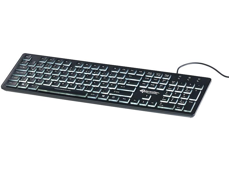 Beleuchtete USB-Tastatur mit Nummernblock, deutsches Layout (QWERTZ)
