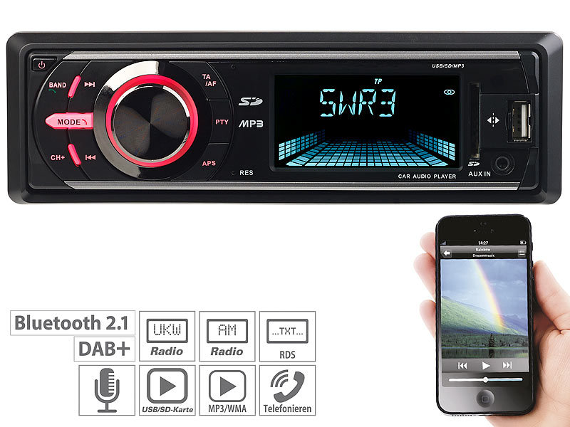 MP3-Autoradio mit DAB+, Bluetooth, Freisprecher, USB & SD, 4x 50 Watt