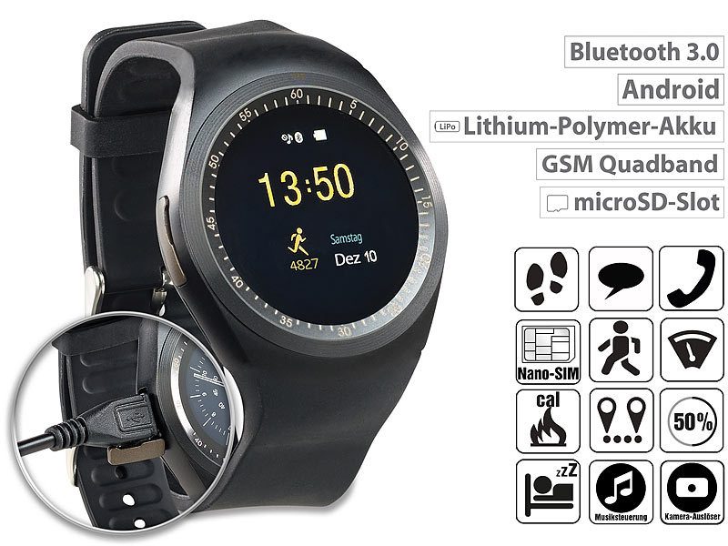 2in1-Uhren-Handy & Smartwatch für Android, rundes Display, Bluetooth