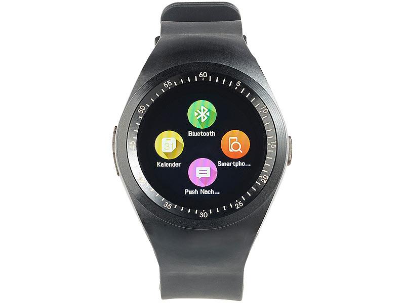 simvalley Mobile Smartwatch mit SIM: 2in1-Uhren-Handy ...