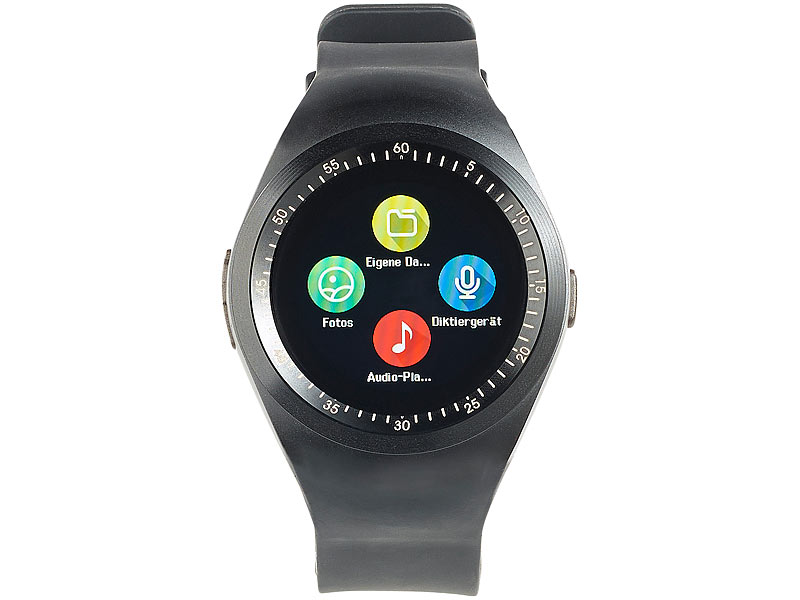 simvalley mobile 2in1 uhren handy smartwatch f r android rundes display bluetooth. Black Bedroom Furniture Sets. Home Design Ideas