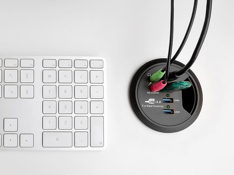 Xystec Einbau USB 3 0 Hubs: Tisch-Kabeldose 80mm mit 4-Port-USB-3.0 ...