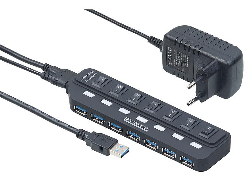 xystec usb mehrfachstecker aktiver usb 3 0 hub mit 7 ports einzeln schaltbar 2 a netzteil. Black Bedroom Furniture Sets. Home Design Ideas
