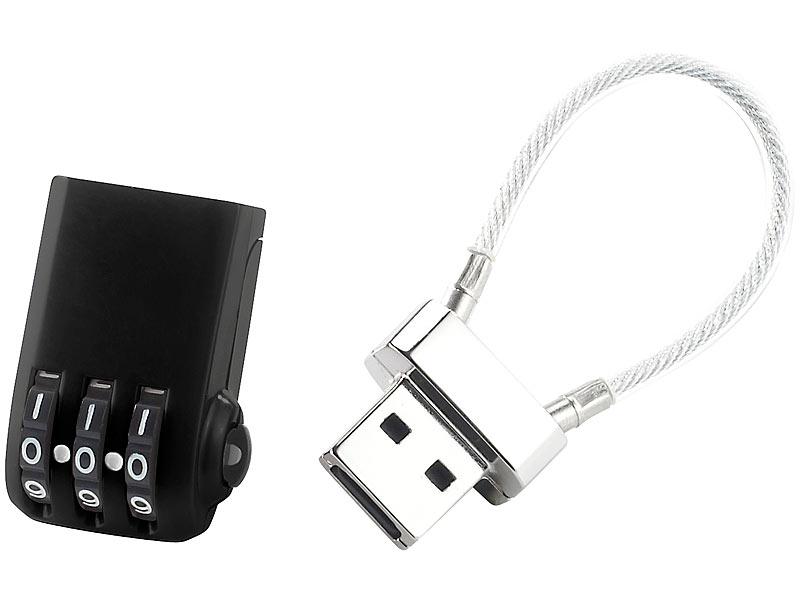 PEARL USB Schloss: 3in1-Zahlenschloss für USB-Stick, Gepäckschloss ...
