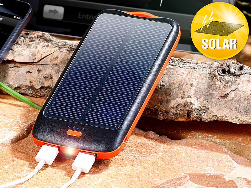 revolt ladeger t solar solar powerbank pb 100 s mit mah ladestand anz 2x usb. Black Bedroom Furniture Sets. Home Design Ideas