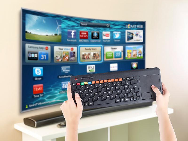 generalkeys funktastatur funk tastatur m touchpad f r smart tvs von samsung u v m pc ps3 4. Black Bedroom Furniture Sets. Home Design Ideas