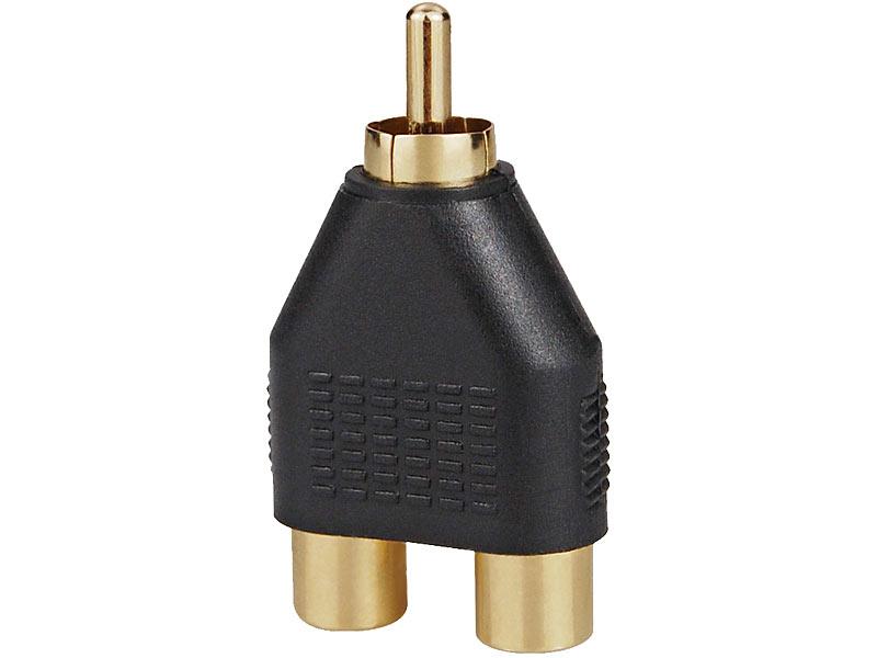 Cinch-Adapter vergoldet, 2x Kupplung auf 1x Stecker
