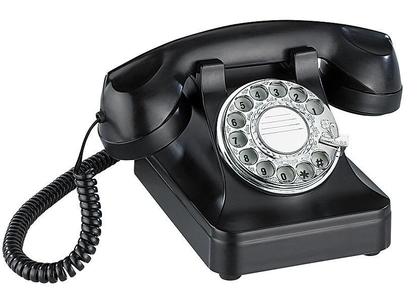 telefon im retro style mit echter w hlscheibe und mechanischer klingel. Black Bedroom Furniture Sets. Home Design Ideas