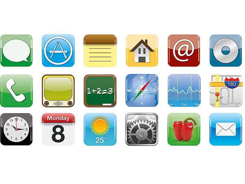 originelle xl magnete im app design 18 verschiedene motive im set. Black Bedroom Furniture Sets. Home Design Ideas