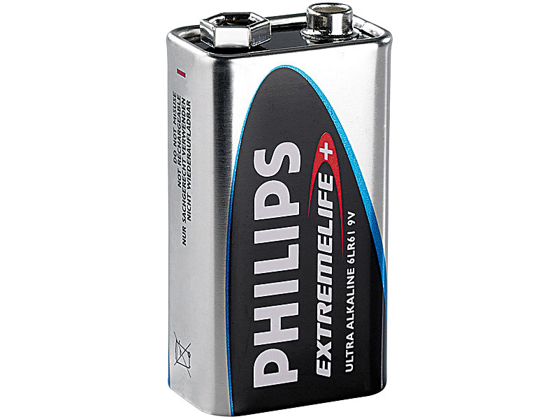 philips extremelife alkaline batterie 9v block. Black Bedroom Furniture Sets. Home Design Ideas