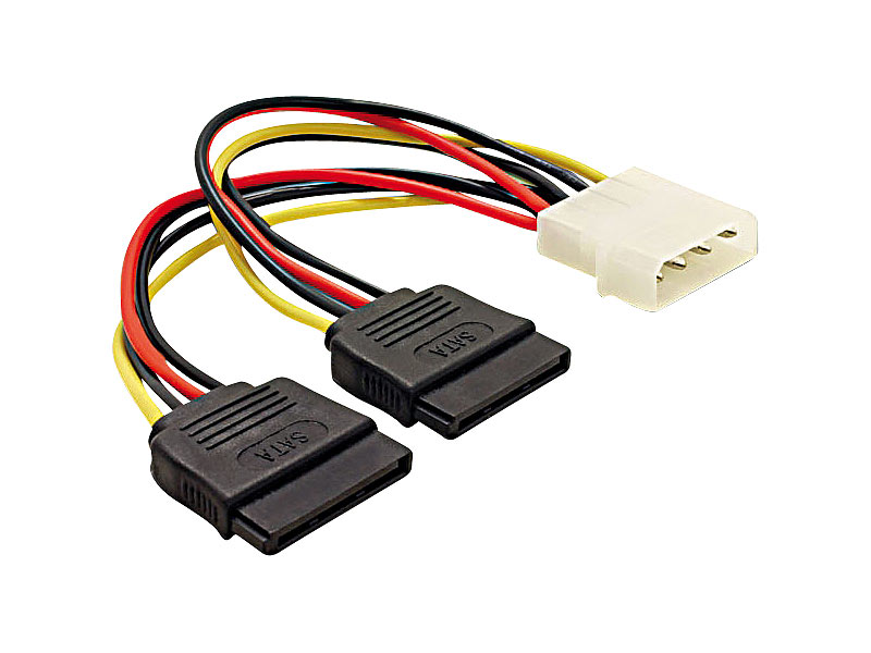 mod it strom adapterkabel f r sata festplatten molex auf 2x sata ca 15cm. Black Bedroom Furniture Sets. Home Design Ideas