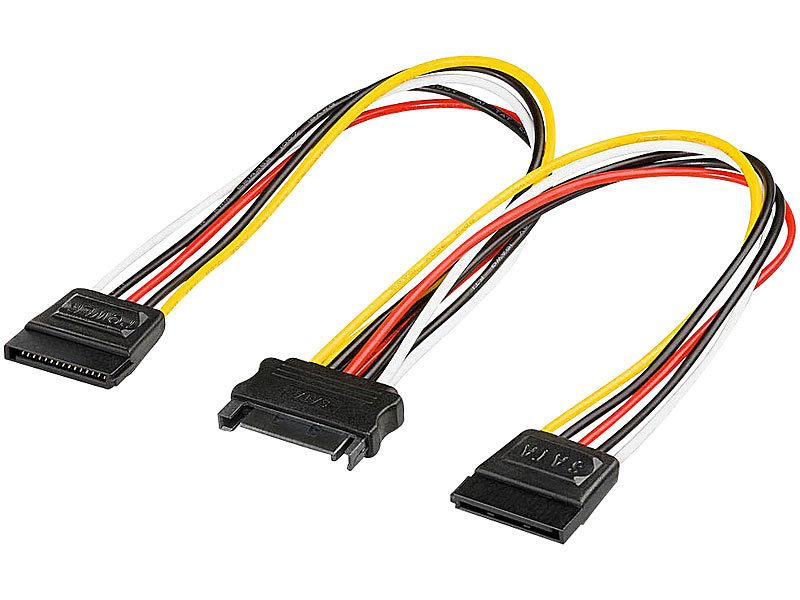 Y-Stromkabel für SATA-HDD 20cm (2x Stecker / 1x Kupplung 15 Pin)
