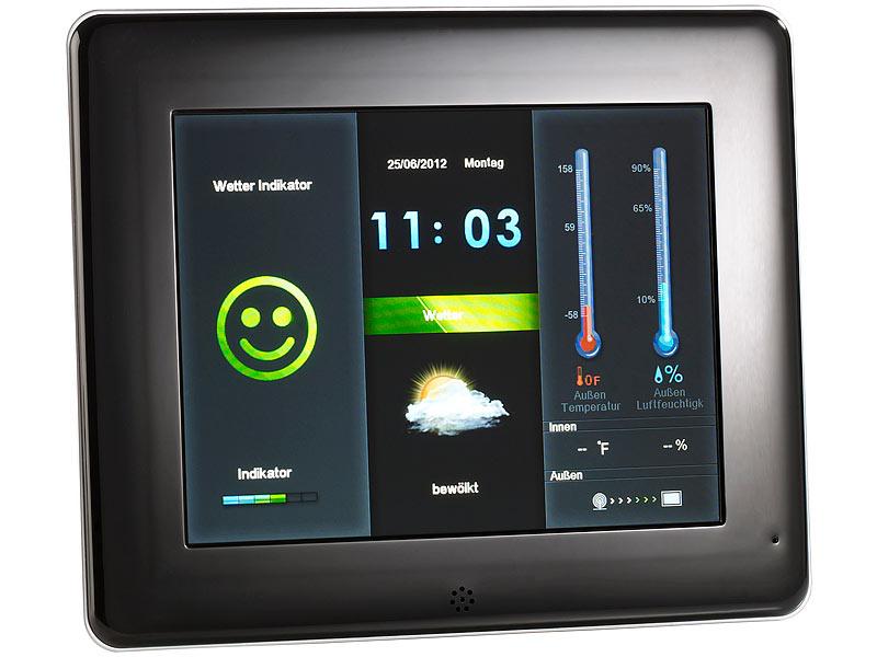 somikon digitaler 3in1 bilderrahmen 20 3 cm mit wetterstation mp3. Black Bedroom Furniture Sets. Home Design Ideas