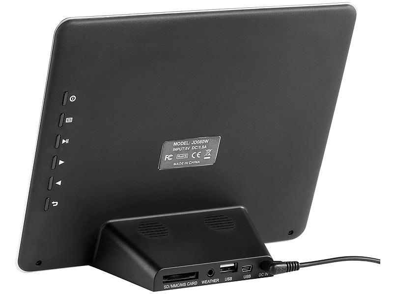 Somikon Digitaler 3in1-Bilderrahmen (20,3 cm) mit Wetterstation, MP3