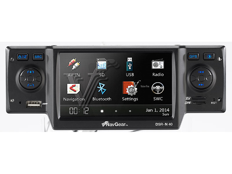 navgear streetmate 1 din autoradio mit 4 3 navi dsr n 40 d a ch. Black Bedroom Furniture Sets. Home Design Ideas