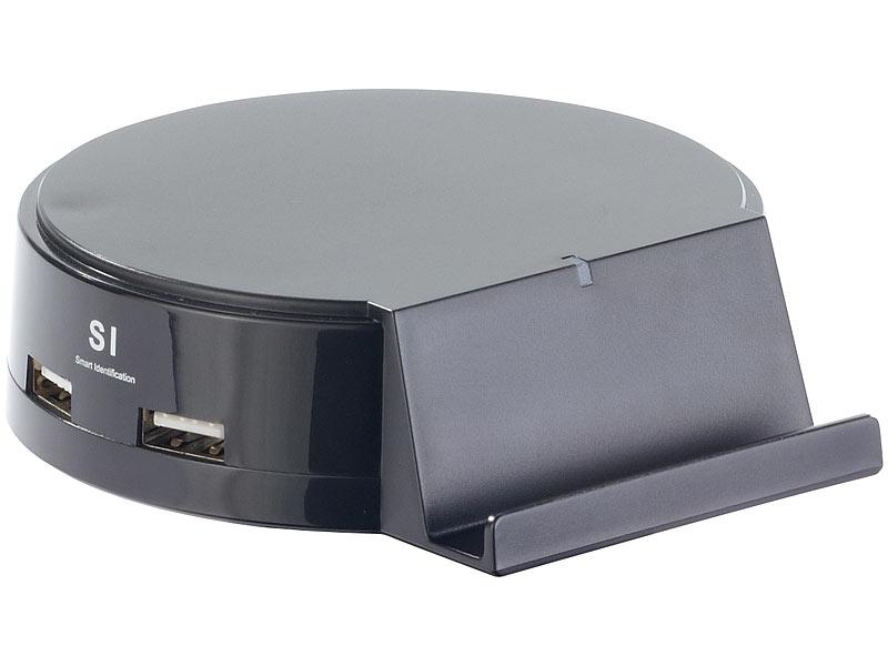 revolt usb stecker ladeger t intelligente 4 port usb ladestation mit ger te halterung 25 w. Black Bedroom Furniture Sets. Home Design Ideas
