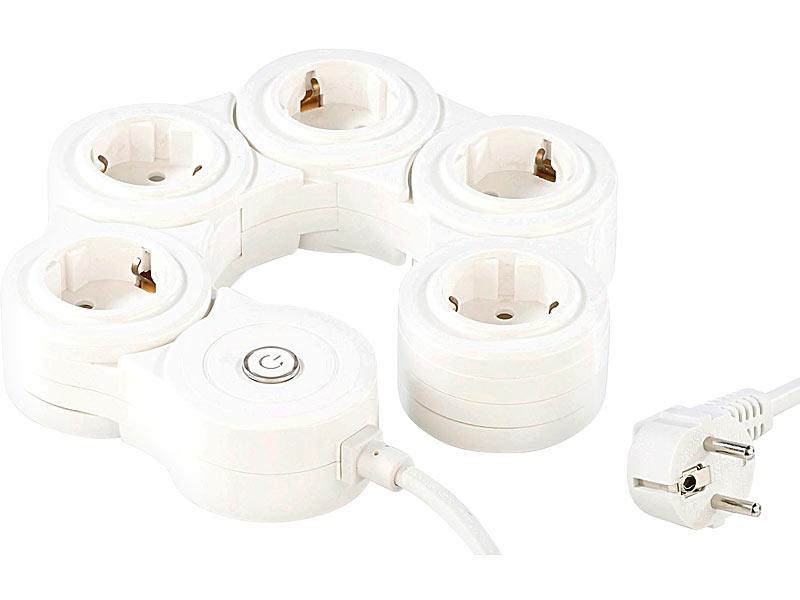 revolt flexible 5 fach steckdosenleiste mit berspannungsschutz. Black Bedroom Furniture Sets. Home Design Ideas