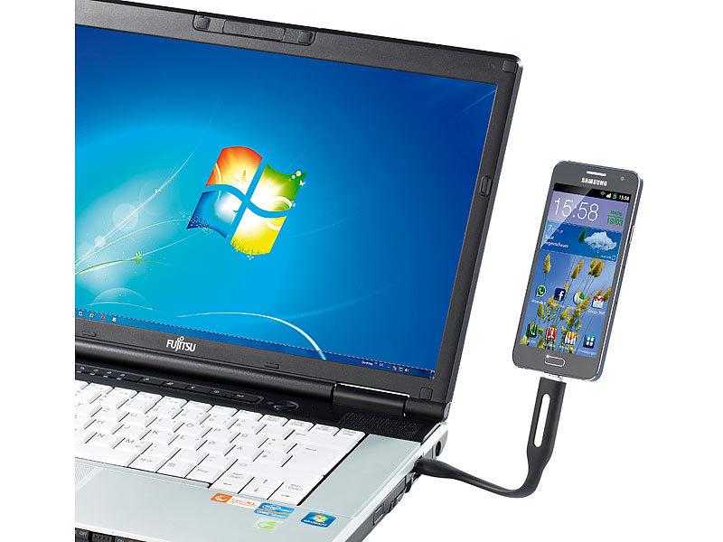 PEARL Laptop Lampe: USB-LED-Leuchte mit Micro-USB für Lade- und ...