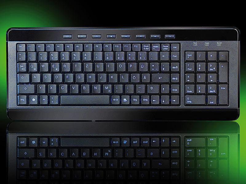 generalkeys tastatur beleuchtet kompakte usb multimedia. Black Bedroom Furniture Sets. Home Design Ideas