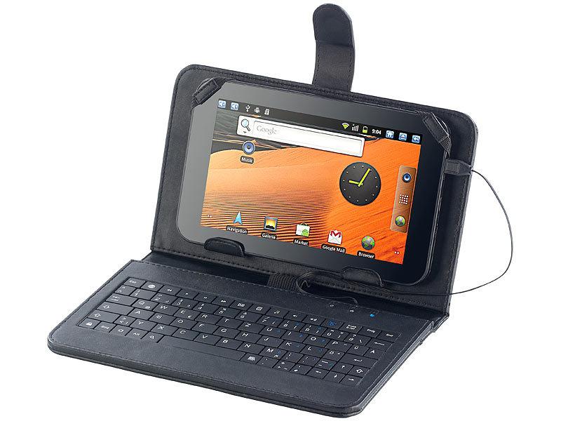 touchlet 7 tablet h lle mit usb tastatur leder look. Black Bedroom Furniture Sets. Home Design Ideas