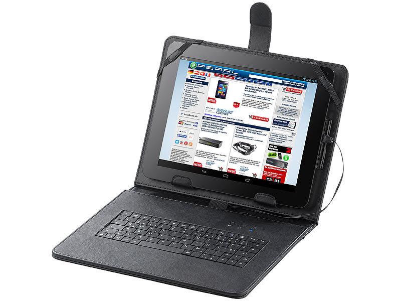 touchlet 9 7 tablet h lle mit usb tastatur leder look. Black Bedroom Furniture Sets. Home Design Ideas