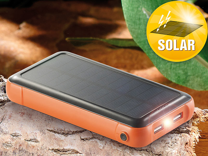 revolt Solar Ladegerät: Solar-Powerbank PB-200.s mit 20.000 mAh ...