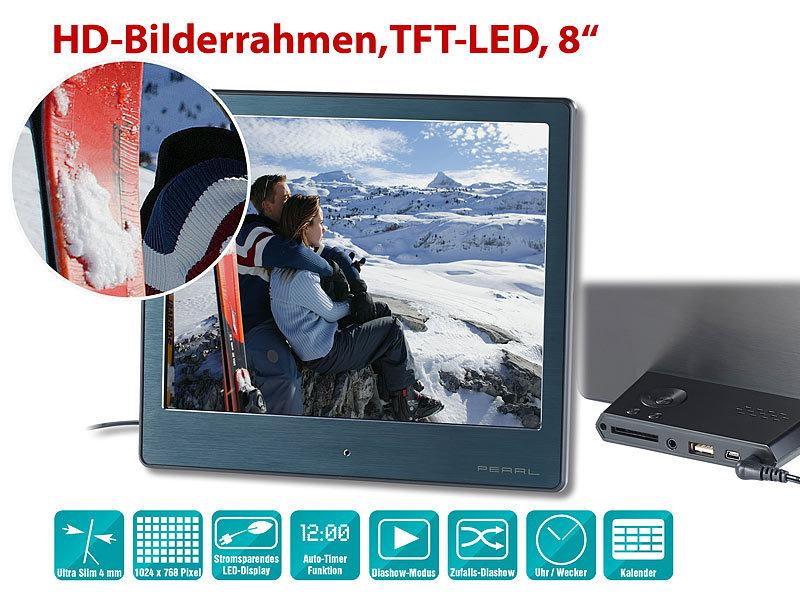 PEARL Fotorahmen: Digitaler HD-Bilderrahmen, 20,3 cm / 8\