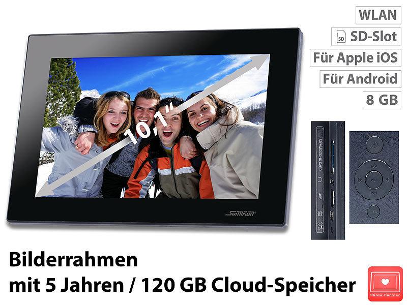 Somikon WiFi Bilderrahmen: Digitaler WLAN Bilderrahmen, 10,1\