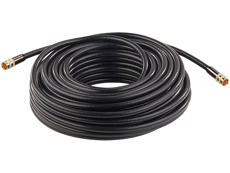 auvisio reciever kabel hdtv sat antennenkabel f stecker 20 m 105 db 4 fache abschirmung. Black Bedroom Furniture Sets. Home Design Ideas