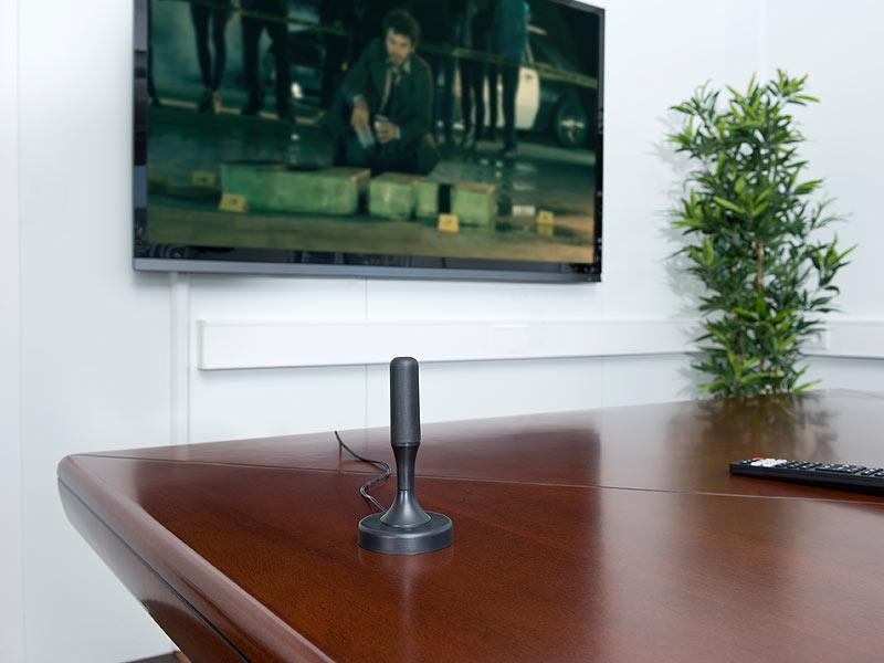 auvisio antennen aktive dvb t t2 zimmerantenne 30 db lte filter 13 cm schwarz radioantennen. Black Bedroom Furniture Sets. Home Design Ideas