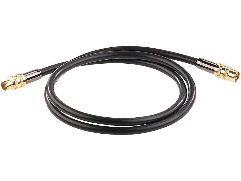 auvisio koaxialkabel premium hdtv antennenkabel koaxial stecker 1 m schwarz 105 db koax. Black Bedroom Furniture Sets. Home Design Ideas