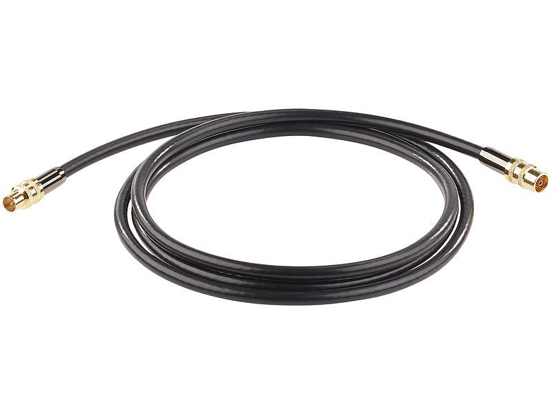 auvisio koaxkabel premium hdtv antennenkabel koaxial stecker 2 m schwarz 105 db koax. Black Bedroom Furniture Sets. Home Design Ideas