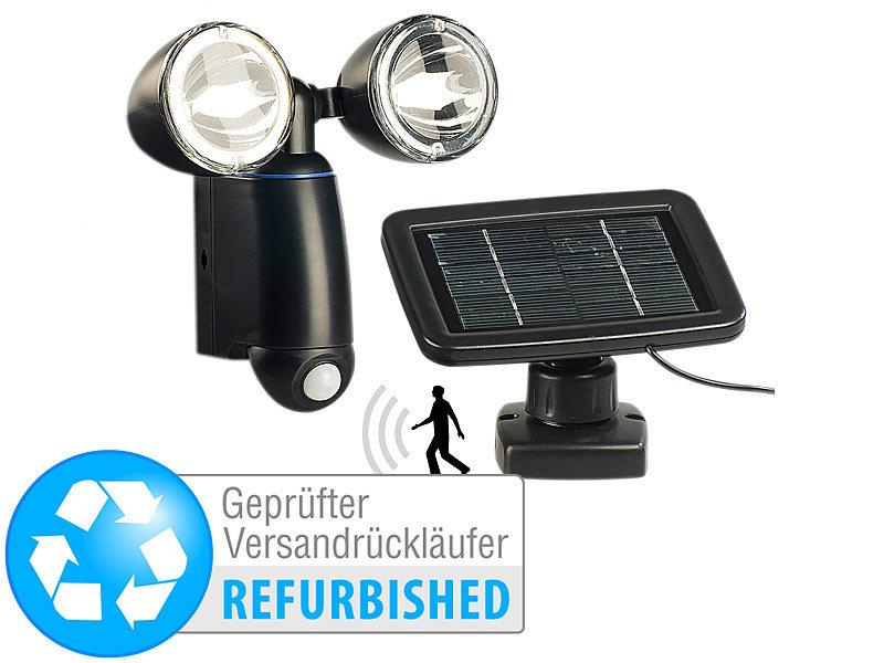 lunartec au enwandleuchten duo solar strahler m 1 watt leds bewegungsmelder. Black Bedroom Furniture Sets. Home Design Ideas