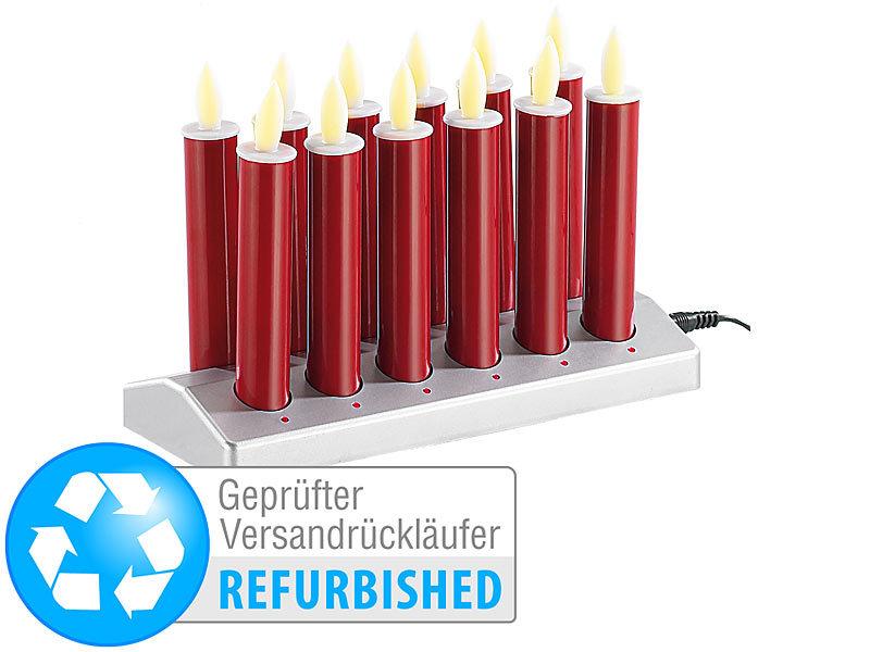 lunartec stabkerzen 12 led akku kerzen mit edelstahl haltern rot versandr ckl ufer leucht. Black Bedroom Furniture Sets. Home Design Ideas
