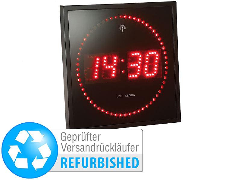 Retro LED Wanduhr: Lunartec LED Funk Wanduhr Mit Sekunden Lauflicht