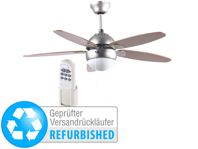 sichler 230v raum ventilator deckenventilator mit holzfl geln licht 92 cm. Black Bedroom Furniture Sets. Home Design Ideas