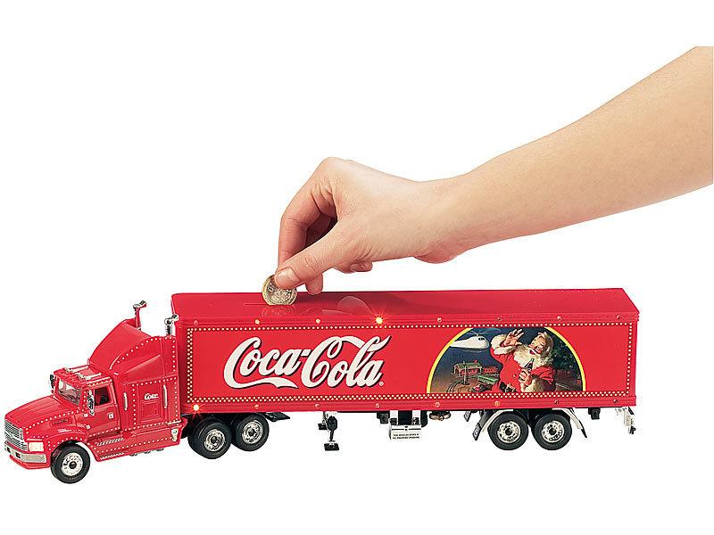 coca cola weihnachtstruck 45 cm mit beleuchtung und spardose. Black Bedroom Furniture Sets. Home Design Ideas
